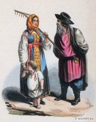 Peasants from Tver Russia Government. Traditional Russia national costumes. Russian Folk clothing. Ethnic dress.