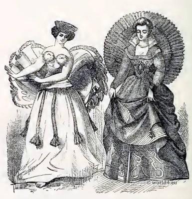 Tahitian Dancing Girl. Venetian Lady. Corset and Crinoline.