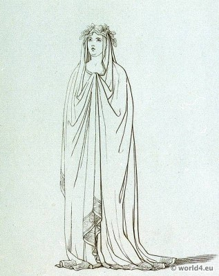 roman fashion history, Vestal, virgin, ancient, costume, tunica,