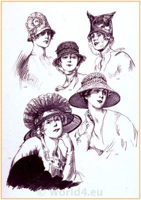 Art Deco Paris Hat Fashion. Belle Époque Costumes. Couturier Marie Louise. Modèls du Style Parisian