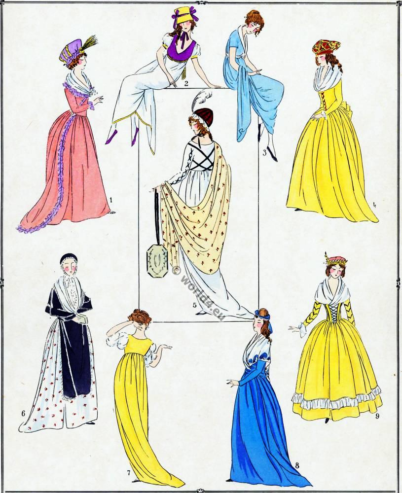 Robes, Revolution, Mme Roland, Théroigne de Méricourt, Joséphine de Beauharnais, Merveilleuse, Mme J. Chénier