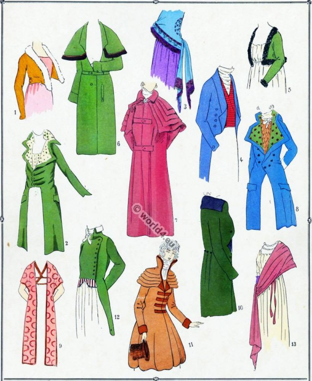 Spencer, Redingote, Manteau, Carrick, Echarpe, Revolution, costumes,