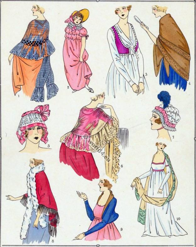 French, Revolution, Bonnet, Fichu, Spencer, Mantelet, Toquet, Châle, modes,