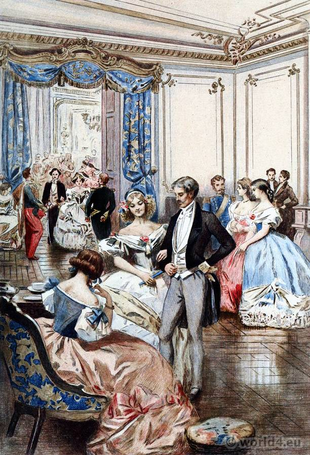 Glamorous Victorian ball gowns. French Empire Costumes. Regency Romantic Fashion.