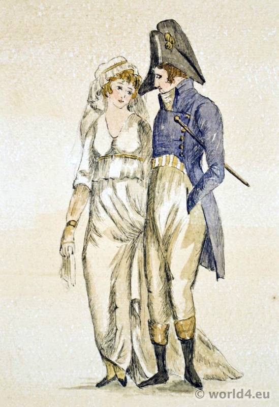 French revolution costumes. France Directory fashion. Incroyables and Merveilleuses.