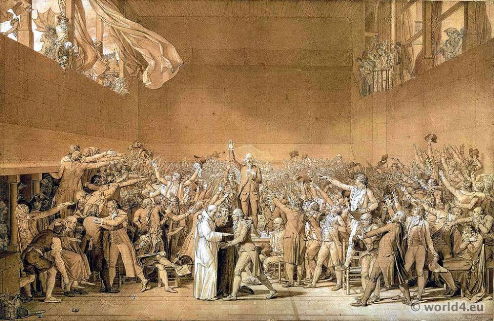 Le Serment du Jeu de paume. French revolution costumes. Directory fashion.