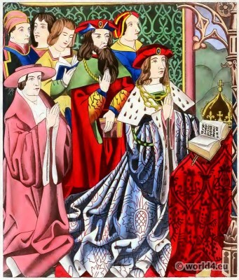 King Henry VI, Middle ages, fashion, Medieval, costumes, dresses, Henry Shaw, court, British, history