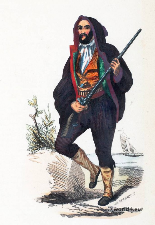 Corsican folk costume. Traditional French national costumes. Corsican Ethnic garment.