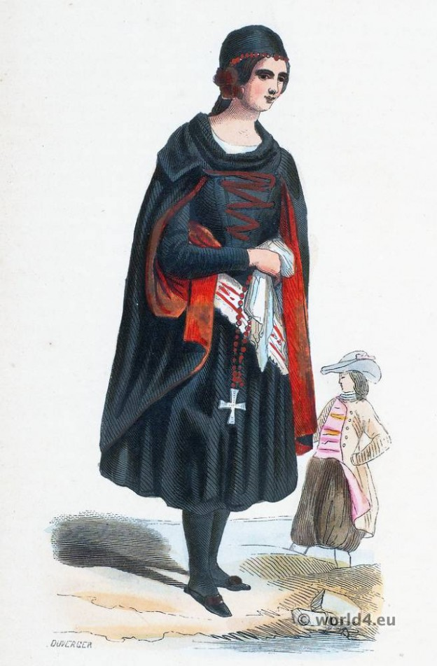 Woman surroundings Prague. Bohemia. Czechia folk costume. Traditional Czechian national costumes. Bohemia Ethnic garment.