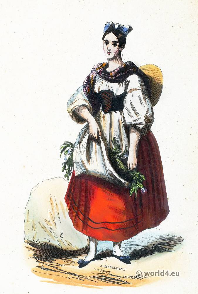 Alsacienne folk costume. Traditional France national costumes. Alsace Ethnic garment.