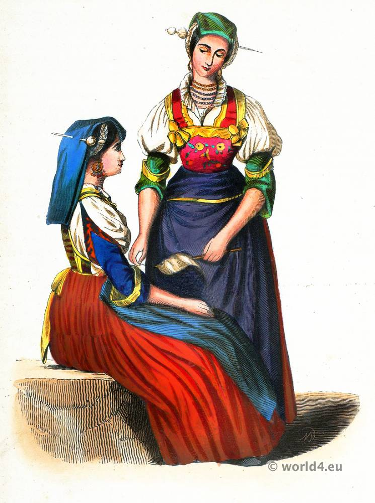Women of Frosolone. Abruzzo folk costume. Traditional Italy national costumes. Italian Ethnic garment.