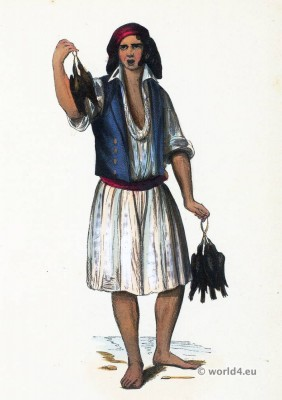 Poultry merchant. Pardilhó folk dress. Traditional Portugal national costumes. Portugese garment.