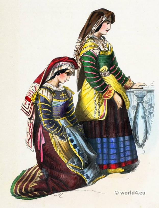 Miranda de Ebro folk costume. Traditional Spain national costumes. Spanish Ethnic garment.