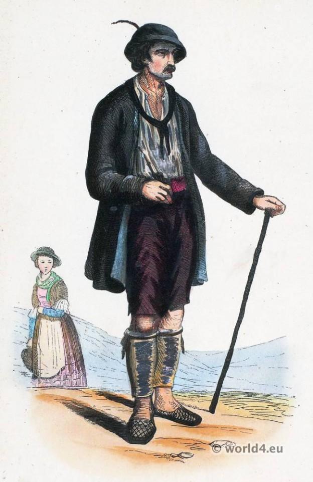 Valley Dux folk costume. Traditional Austria national costumes. Tyrol Ethnic garment.