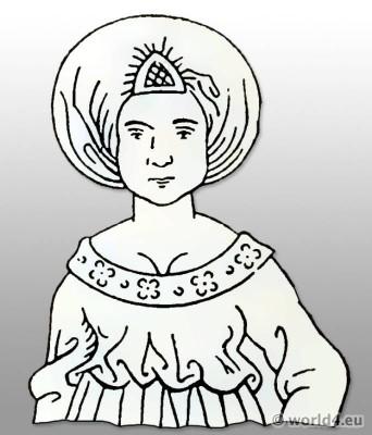 German women`s dress 15th century. Burgundy Costume. Medieval gothic clothing.