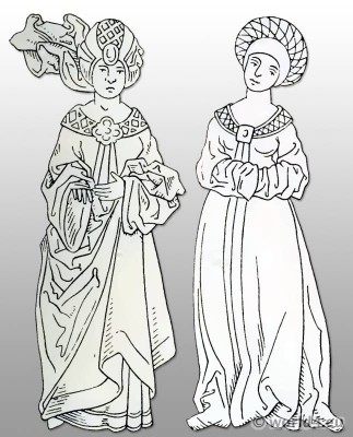 German, dress, 15th century, costumes, middle ages, fashion,