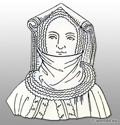 Costume History. Headdress 15th century