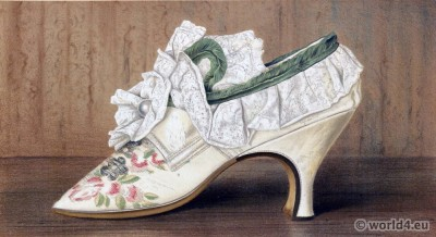 Shoes 17th century. Baroque fashion. Shoe from reign of Charles II