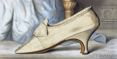 18th century rococo shoe fashion. Vintage High Heels. Boho style.
