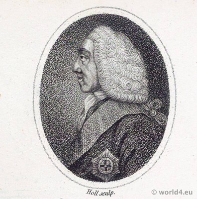 Baroque Portrait. Philip Dormer Stanhope. Earl of Chesterfield with alonge wig