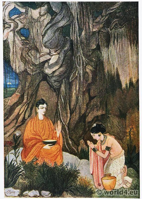 Abanindranath, Tagore, Buddha, Sujata, India, Artist, Oriental Art, Illustration,