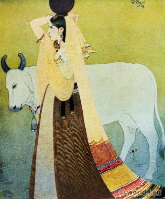 Bireshwar Sen. India Artist. Hindu indian costume painting. India Artist Bireshwar Sen