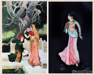 India Mughal Costumes. Abanindranath Tagore. Indian Artist. Indian Society. Oriental Art. Illustration.