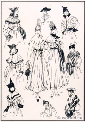 Collars and Capes. Le style parisien. Art deco fashion magazine. French parisiennes collection haute couture