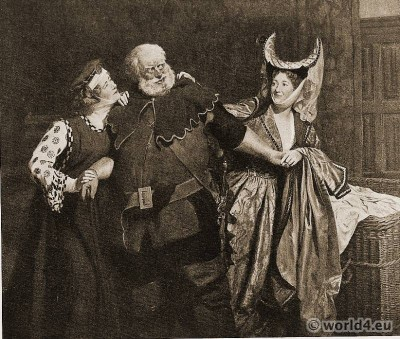 William Shakespeare. The Merry Wives of Windsor. John Collier. Costumes Tudor. 16th century fashion.