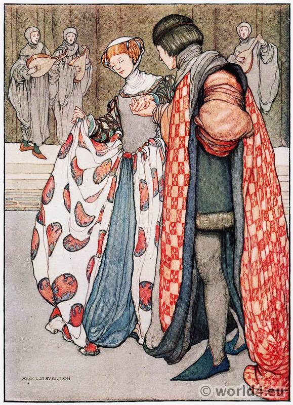 Averil Mary Burleigh. British Artist. Burgundy court dresses. Medieval costumes. Gothic fashion.