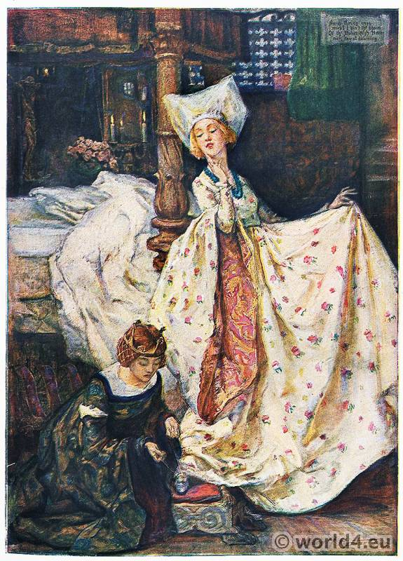 Mary Young Hunter. Burgundy fashion. Medieval high dame court costume. Edwardian Pre-Raphaelites Painting