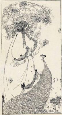 Princess, peacock, Art nouveau, Jessie M. King