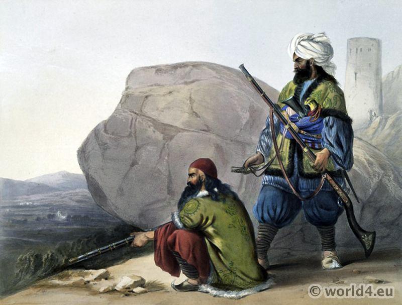 Afghan foot soldiers. winter dress. James Rattray. Afghan folk dresses. Traditional Afghanistan National Costumes.