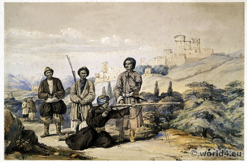 Huzzareh, Mongol Tribe. Tatars. Arms. Armament. Afghanistan. traditional Afghan costume.