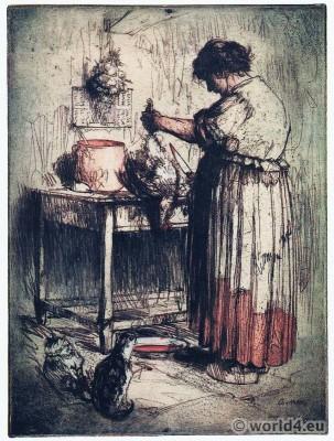 La Femme au Poulet. Armand Coussens. Woman kitchen dress.