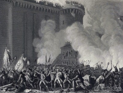 Attack on the Bastille. Murder of Marquis de Launay. French Revolution History. 18th century costumes