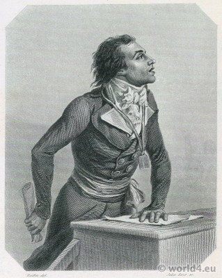 Portrait Bertrand Barère. French Revolution History. 18th century costume. French politician. Freemason
