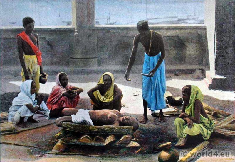 Corpse, incineration, cremation, Sri, Lanka, costumes, Ceylon, hindu, custom,