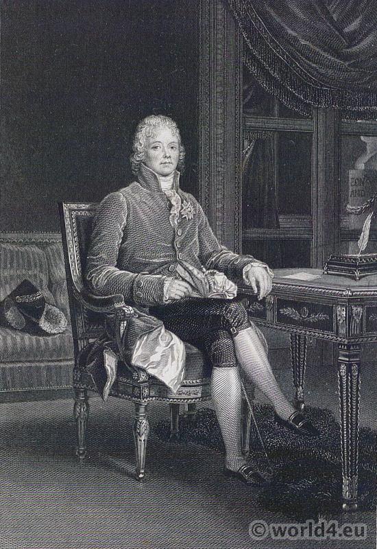 Portrait Maurice de Talleyrand. French Revolution History. 18th century costume