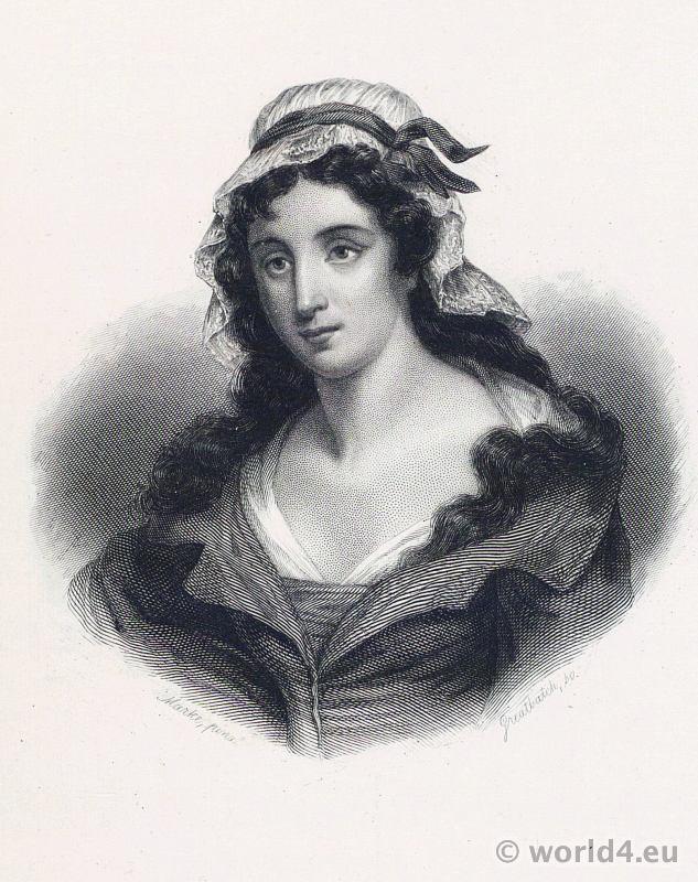 Portrait Charlotte Corday. French Revolution History. 18th century costume