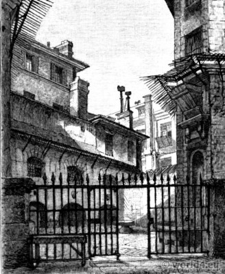 Conciergerie Women`s Court. French Revolution history. Marie Antoinette