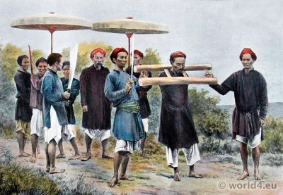 Convict going to execution. Tonkin Vietnam traditional costumes. French colonial History.