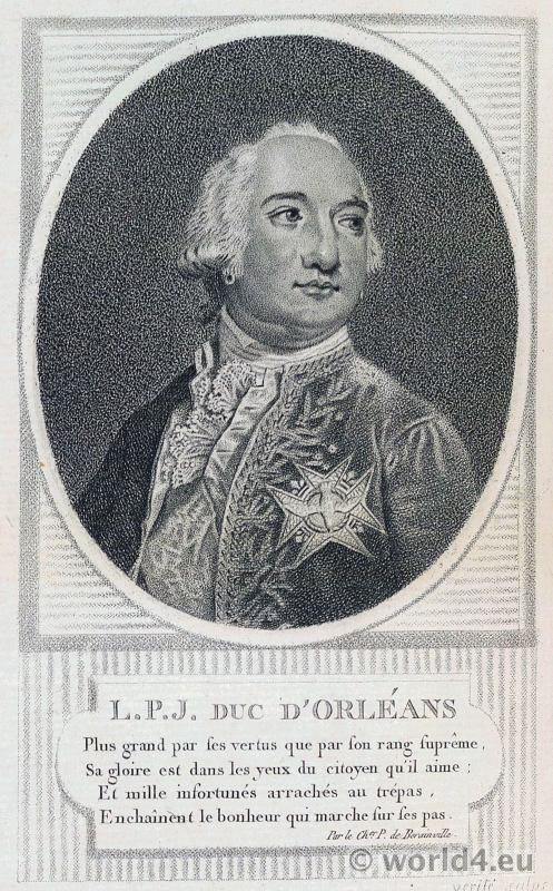Portrait Louis Philippe Joseph Duc d'Orléans. French Revolution History. 18th century costume