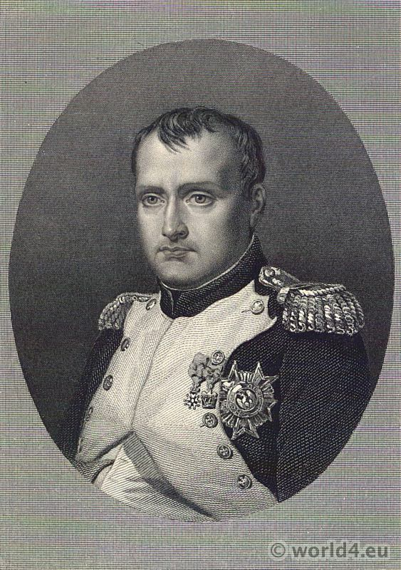 Emperor Napoléon Bonaparte. Portrait French Revolution History costume