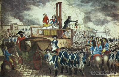 The execution of Louis XVI. Guillotine. Place de la Révolution. French Revolution History costumes.