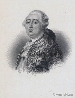 French King Louis XVI . French Revolution History. Portrait. Royal costume.