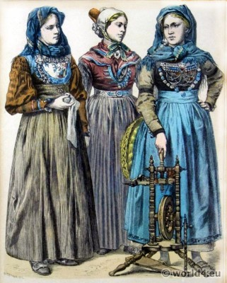 Foehr, Wyk, Peasant woman, Friesland, Netherland, Dutch, National costumes, Osterfeld, Münchner Bilderbogen, Trachten