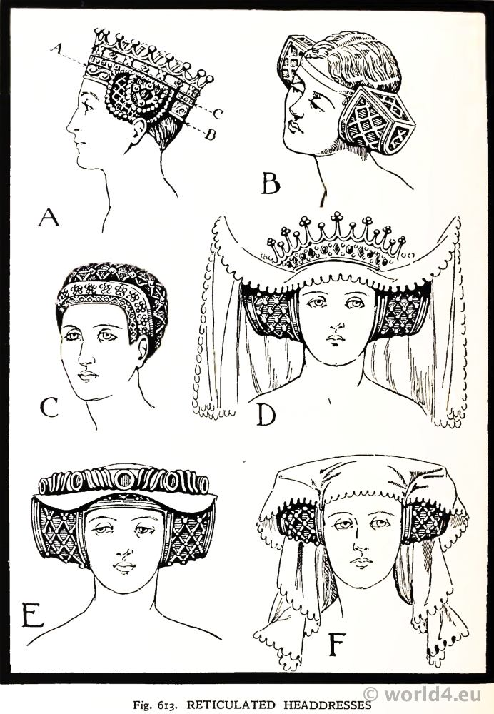 Medieval Reticulated Headdresses 15th century. Burgundy Fashion. Court dresses. Hennin.
