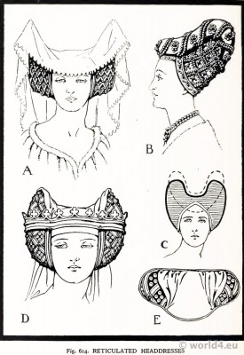 Medieval Reticulated, Reticulated, headdress, crespinette, cauls, middle ages, fashion