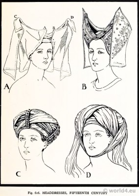 Medieval, Headdresses, 15th century, Burgundy, Hennin.
